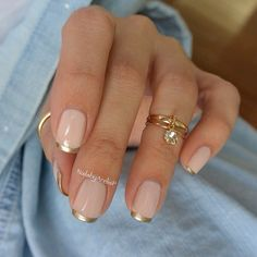 gold french tips using @essiepolish 'Good As Gold' on 'Ballet Slippers' base / mid ring is from @mysassybella - #essie  #frenchtips