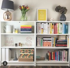 Our bookcase which our IKEA billy two put together! We change it up once every few months