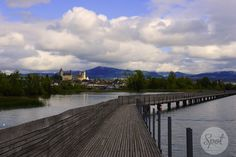 "The ""Holzbrücke Rapperswil-Hurden"" overlooking the Seedamm direction Rapperswil, the"" town of roses"" #swissspots"