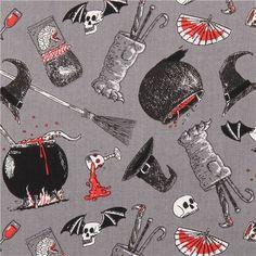 grey The Odditys black cauldron fabric by Elizabeth's Studio USA