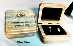 Personalized Wooden Double Ring Box   by WeddingEngravingGift ~£27 on etsy.