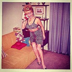 27 Funny Family Photos & Vintage Snaps ~ woman on phone in leopard print bathing suit