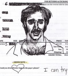 A drawing of Nick Cage, by Gelsey. It's called talent, guys. Pure talent.