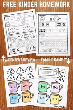 FREE Kindergarten Homework! #freeprintables #homeworkforkinders #mathfacts