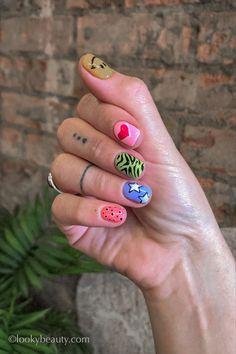 Edgy Nails, Funky Nails, Funky Nail Art, Nail Design Stiletto, Nail Design Glitter, Bad Nails, Crazy Nails, Mix Match Nails, Hippie Nails
