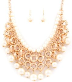 Dangle Pearls Necklace Earrings Set - $21