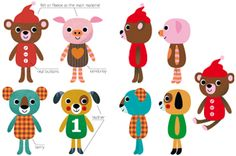 Drafts for plush toys she designed for a Korean company, ordinary version.