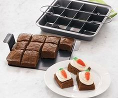 This Brownie Slice Pan will make perfect brownies! Aluminized-steel construction for even heat distribution and nonstick finish ensures effortless food removal! Dishwasher-safe and oven-safe up to 550 degrees! Genius!