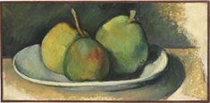 Paul Cézanne (French, 1839-1906), Poires dans une assiette blanche [Pears on a White Plate], 1879-80. Oil on canvas, 18.8 x 38 cm
