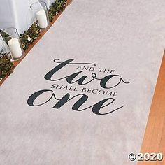 Two Become One Wedding Aisle Runner (100 feet) Wedding Decor