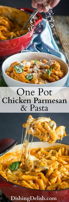An incredibly Easy One Pot Chicken Parmesan & Pasta dinner for your busy weeknight. Melted mozzarella cheese, savory marinara sauce, chicken, gluten free pasta, and fresh basil, ready in less than 30 minutes!