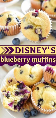 Obsessed with Walt Disney World? Find yourself looking forward to making this easy breakfast muffin or afternoon snack! In just one bowl, you can whip up a batch of this blueberry muffin recipe for a… Simple Muffin Recipe, Healthy Muffin Recipes, Delicious Breakfast Recipes, Brunch Recipes, Healthy Food, Snack Recipes, Lemon Blueberry Muffins, Blue Berry Muffins, Easy Breakfast Muffins
