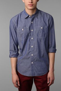 Stapleford Flecked Chambray Workshirt. $49 @ Urban Outfitters, http://www.urbanoutfitters.com/urban/catalog/productdetail.jsp?id=23947807=M_APP_BUTTONDOWNSHIRTS