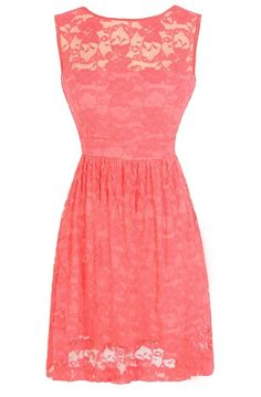 Sleeveless A-Line Lace Overlay Dress in Coral {@Jessi Hulse these are only $42.00 & super cute!! I think you decided against coral though so maybe in another color??}