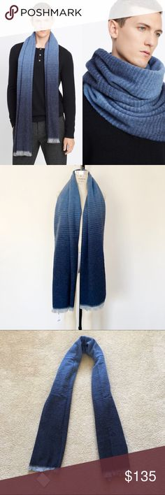 """Vince blue wool blended men's scarf- made in Italy Original price $195 plus tax. Condition: brand new with tag. Brand: Vince This Vince men's scarf has a radation of blue moves across a soft, wide scarf cut from a luxe wool blend.  This elegant and super warm scarf is truly a perfect gift for your special someone this Holiday.  Length: 30"""" x 80"""". 79% wool, 21% nylon. Made in Italy. Vince Accessories Scarves"""