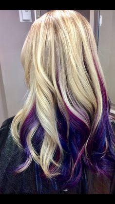 Peekaboo highlights blonde hair pink streaks purple streaks blue streaks me Hair Streaks Blonde, Purple Hair Streaks, Pink Blonde Hair, Brown Ombre Hair, Blonde Hair With Highlights, Hair Color Purple, Blue Hair, Bayalage Braun, Pink Peekaboo Hair