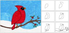 how to draw a cardinal for kids | Art Projects for Kids: Winter Cardinal Painting