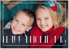 Folded Holiday Photo Cards Deco Holidays - Front : White