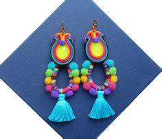 Boho Style Rainbow Soutache Earringsetnic by RainbowSoutache