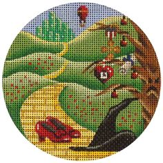 Contact us today to learn more about Rebecca Wood Designs hand painted needlepoint! Cross Stitch Embroidery, Embroidery Patterns, Cross Stitch Patterns, Needlepoint Kits, Needlepoint Canvases, Round Canvas, Christmas Cross, Christmas Ornament, Yellow Brick Road