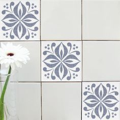 Mibo Tile Tattoos in Ventor Platinum on White or Clear