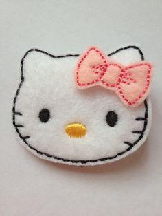 Hello Kitty Inspired Feltie Clip by BEgirlyCreations on Etsy