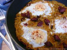 Pikantní bramborové nudle s vejci (teplá paleo snídaně) / Spicy Potato Noodles with Eggs (paleo warm breakfast)