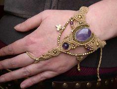 Tribal Macrame Handpiece Handjewelry Amethyst by MagicKnots, €36.00