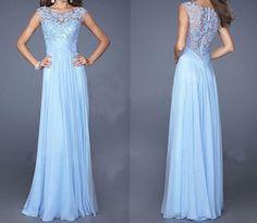 Slim lace stitching blue dress DSV51707DG
