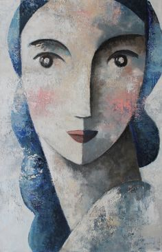 Face and blue 92 x 60 cm.