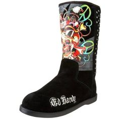 Now here is something with edge and versatile. Ed Hardy Women's Bootstrap Black Boots