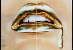 Bold Gold Amazing liquid gold makeup photographed by Miles Aldridge for Vogue Nippon, 2006.