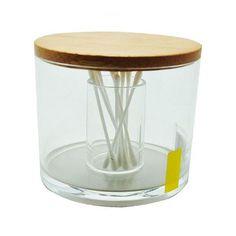 Boîte à coton Boite à coton et coton tiges Bois/Acrylique Transparent Boite à coton et coton tiges Bois/Acrylique Transparent