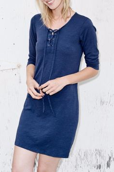 3/4 SLEEVE DRESS CUT IN SLUB SPANDEX. FEATURING LACE-UP DETAIL AT NECKLINE. WASH COLD. MADE IN USA. Lace Up Dress by Sundry. Clothing - Dresses - Casual Princeton New Jersey
