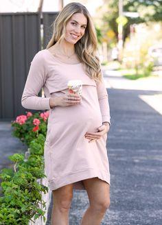 Winter Mama Journey Fleece Pregnancy Dress in Pink by Trimester Maternity Pads, Maternity Nursing Dress, Maternity Dresses, Pregnancy Dress, Pre Pregnancy, Winter Dresses, Fleece Fabric, Designer Dresses, Journey
