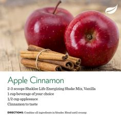 Apple Cinnamon Shake using Shaklee Life Shake protein. Recipe uses 2 scoops of protein, half cup of apple sauce, cinnamon to taste, and a cup of liquid (almond milk works for me).