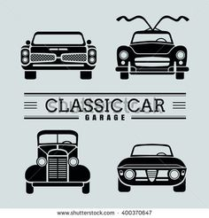 Garage Logo, Car Vector, Car Drawings, Illustrations, Grills, Vintage Cars, Art Ideas, Classic Cars, Silhouette