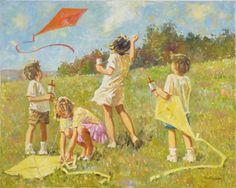 Children Paintings Robert Sarsony Fun Flying Kites 24 x 30 robertsarsony.com Go Fly A Kite, Kite Flying, Beach Reading, Art Series, Kites, Selling Art, Painting For Kids, Art Sketches, Paintings