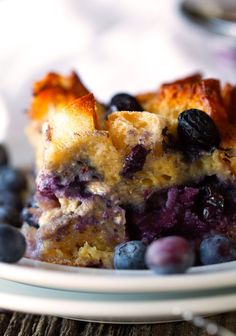 Overnight Blueberry French Toast Casserole by Deliciously Yum!  Christmas morning casserole