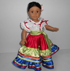 Reserved Costa Rica folklorico fits 18 in dolls like White Cotton Blouse, Cotton Blouses, Costa Rica, Color Combinations, Royal Blue, Harajuku, Vibrant Colors, Most Beautiful, 18th