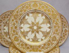 14 Royal Worcester Cream & Gold Dinner Plates