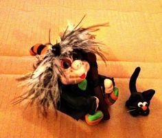 Sculpey clay witch with broom and cat