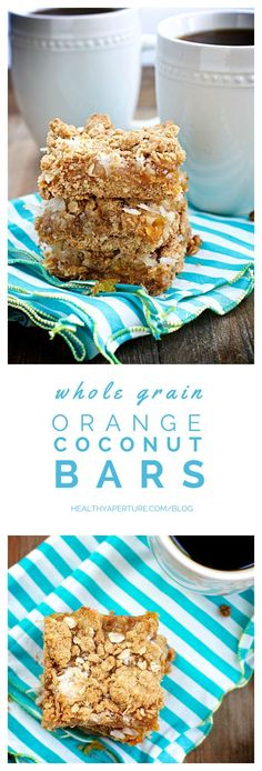 This easy to make, tropical bar cookie recipe combines classic flavor combos of orange and coconut in a 100% whole grain healthy dessert. Recipe by @ReganJonesRD on @HealthyAperture.