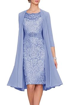 Newdeve Chiffon Mother Of The Bride Dresses Tea Length Tw...