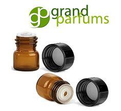 12 Amber 1/4 Dram Glass Vials w/ Orifice Reducer by GrandParfums
