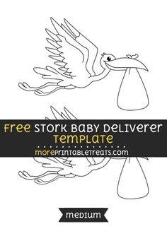 Free Stork Baby Deliverer Template - Medium Templates Printable Free, Free Printables, Baby Shower Printables, School Stuff, Sew, Crafty, Embroidery, Signs, Medium