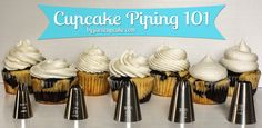 {Video Tutorial} Cupcake Piping 101 - Learn to pipe beautiful swirls of frosting on your cupcakes in 7 different ways!  by JavaCupcake.com