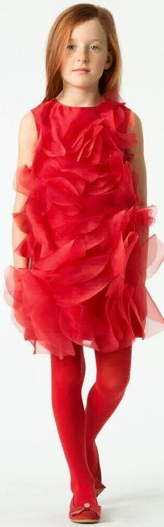 SALE!!! I PINCO PALLINO Girls Designer Red Chiffon Party Dress. Gorgeous Special Occasion Dress. Perfect for a Holiday Party. Made in delicate chiffon with circular appliqués, it has a fun, 60's Vintage feel. Now on Sale! #kidsfashion #fashionkids #girlsdresses #childrensclothing #girlsclothes #girlsclothing #girlsfashion