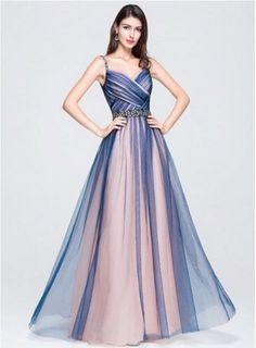 A-Line/Princess Sweetheart Floor-Length Tulle Prom Dress With Ruffle Beading Sequins