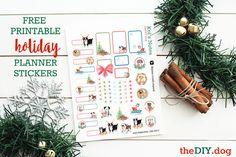 {Free Printable} Happy Howlidays Watercolour Planner Stickers for Dog Lovers - Kol's Notes